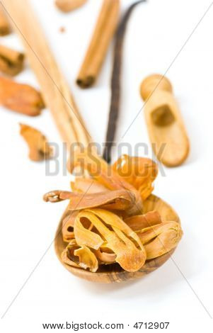 Mace,cinnamon ,vanilla Beans And Bark Isolated On White