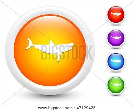 Shark Icons on Round Button Collection Original Illustration