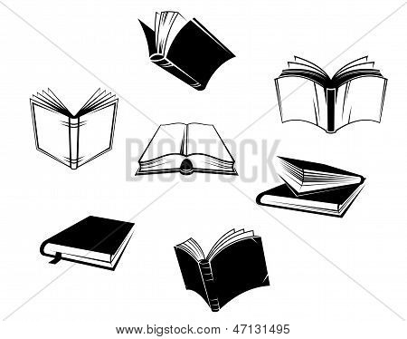 Books icons and symbols