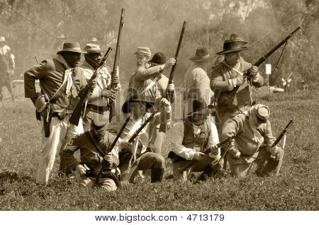 Confederate Soldiers In Battle