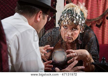 Lady Reading A Crystal Ball