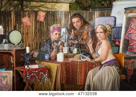 Gypsies With Lamp And Crystal Ball