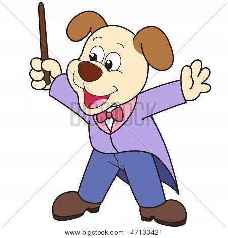 Conductor de música perro de dibujos animados.