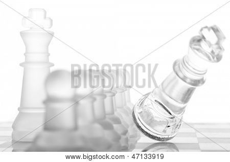 row of pawns are defending king, cut out from white
