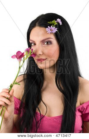 Spring Woman And Flower