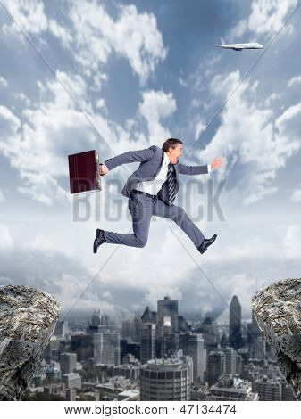 Businessman running to the goal. Competition concept in business.