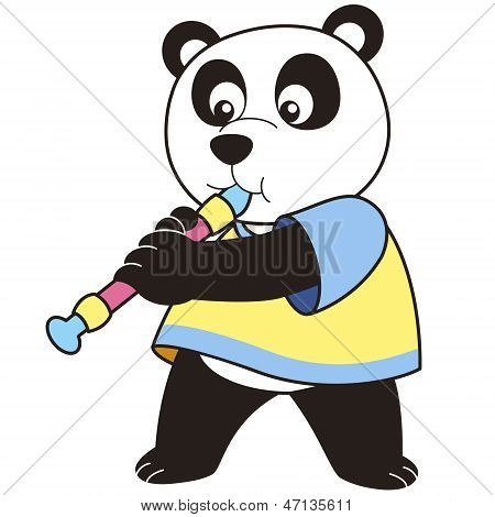 Cartoon Panda Playing An Oboe
