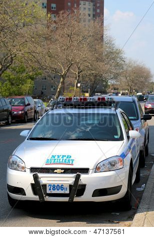 NYPD axillary car in Brooklyn, NY