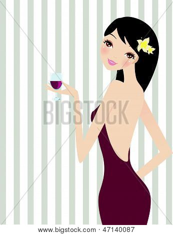 A beautiful elegant girl drinking a cup of wine on a party