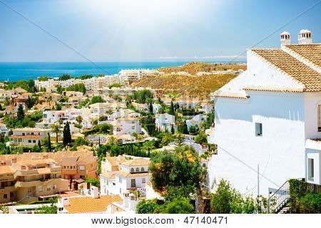 Spanish Landscape. Benalmadena Panoramic View (Spanish tourist city), Costa del Sol. Malaga, Andalucia, Spain