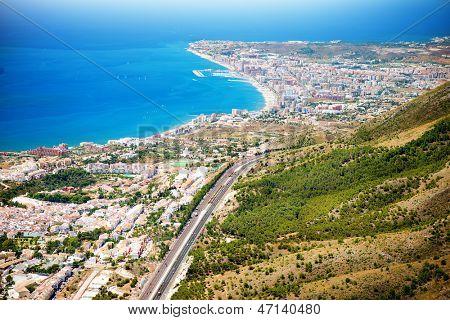 Aerial Panoramic View of Costa del Sol, Benalmadena, Malaga, Spain