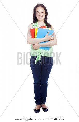Full body portrait of a female student carring notebooks and backpak, isolated on white