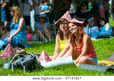 "MOSCOW - JUNE 15: People attend open-air concert on X International Jazz Festival ""Usadba Jazz"" in Archangelskoye Museum-Mansion on June 15, 2013 in Moscow"