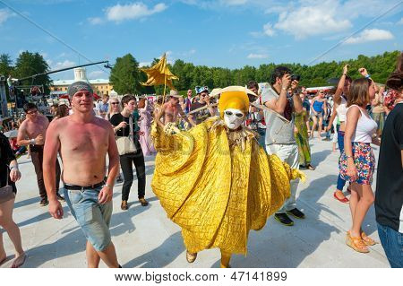 "MOSCOW - JUNE 16: People attend open-air concert on X International Jazz Festival ""Usadba Jazz"" in Archangelskoye Museum-Mansion on June 16, 2013 in Moscow"