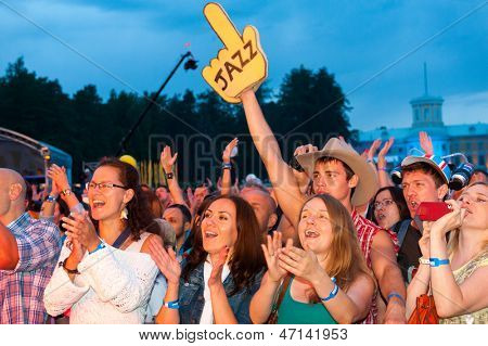 "MOSCOW - JUNE 16: People cheering at open-air concert on X International Jazz Festival ""Usadba Jazz"" in Archangelskoye Museum-Mansion on June 16, 2013 in Moscow"