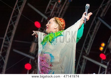 MOSCOW - JUNE 16: Nino Katamadze and Insight group performs on open-air X International Festival