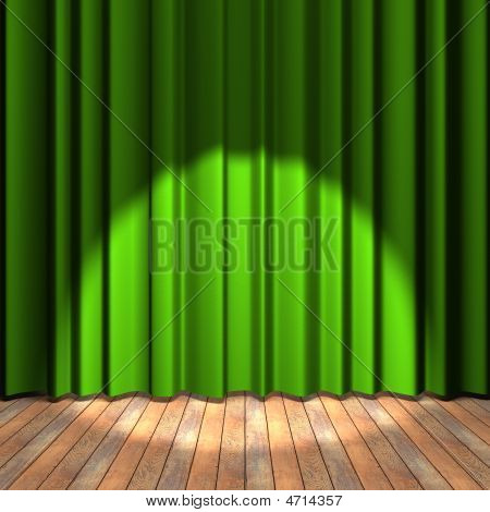 Green Curtain Stage With A Spot Light