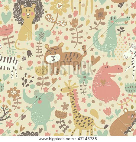 Cute floral seamless pattern with wild animals from Africa. Koala, lion, crocodile, hippo, giraffe, tiger, zebra. Vector retro background.
