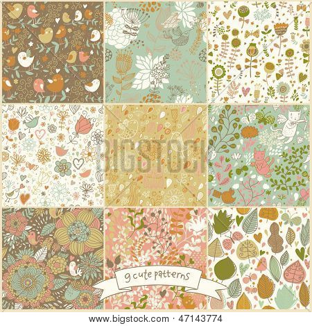Set of nine floral vintage seamless patterns with birds and butterflies. Retro vector backgrounds. Seamless texture can be used for wallpapers, pattern fills, web page backgrounds, surface textures.