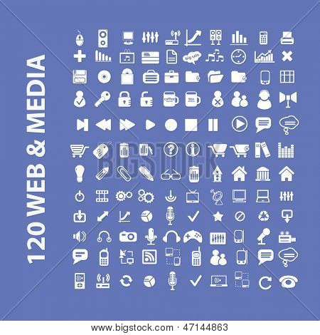 120 web, media, internet, office icons, signs set, vector