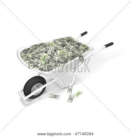Dollar Money Wheelbarrow, Invest concept