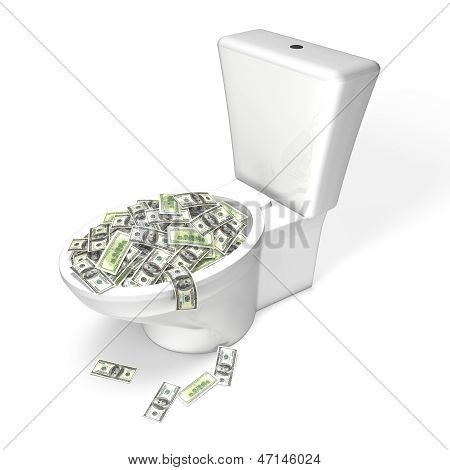 Wasting Money in the Toilet - dollars