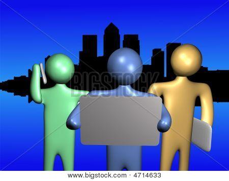 Team With Docklands Skyline