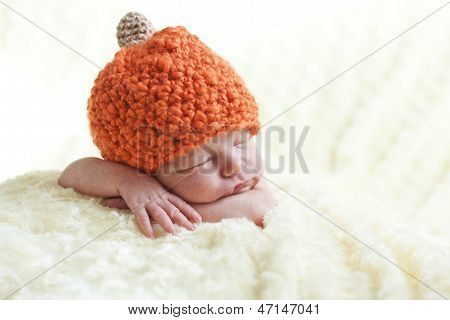 Newborn In A Cap Pumpkin