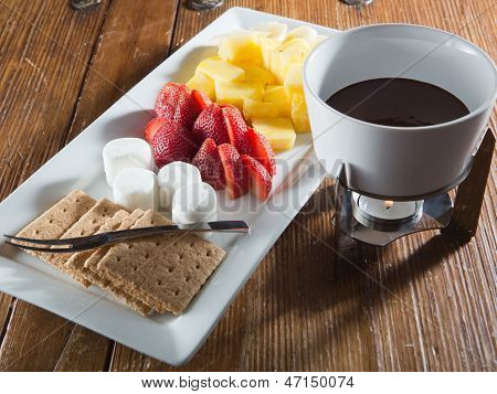 Chocolate fondue dessert tray for two