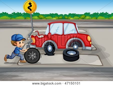Illustration of a boy repairing a car near the signage