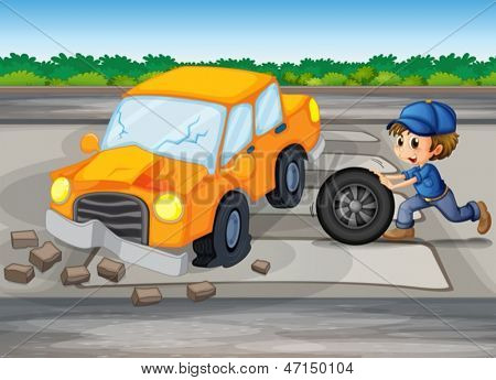 Illustration of a boy repairing a car at the pedestrian lane