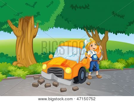 Illustration of a car crash at the road near the big trees