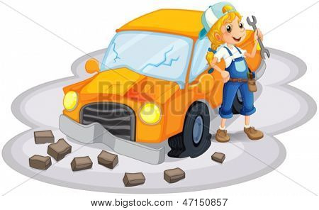 Illustration of a young girl fixing an orange car on a white background
