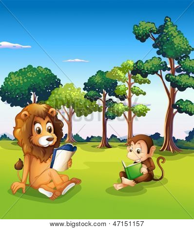 Illustration of a monkey and a lion reading books