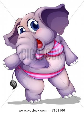 Illustration of an elephant wearing a bikini on a white background