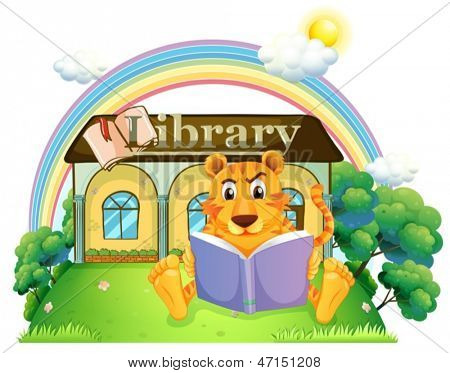 Illustration of a tiger reading a book outside the library on a white background