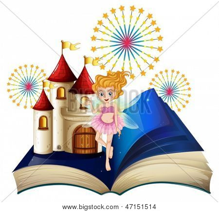 Illustration of a storybook with a fairy, a castle and fireworks on a white background