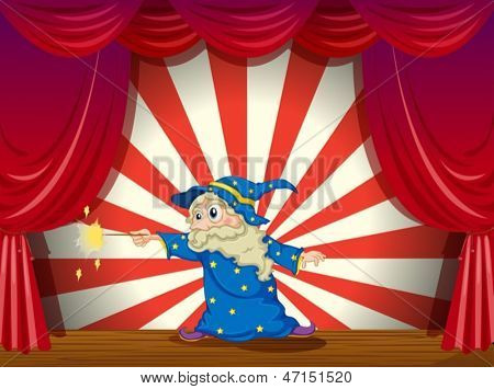 Illustration of a wizard with a wand in the middle of the stage