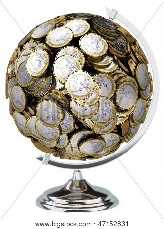 Globe of the 1 euro coin