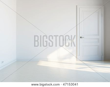 white empty interior with white door and sunlight