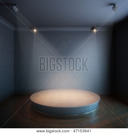 new interior with a round concrete podium