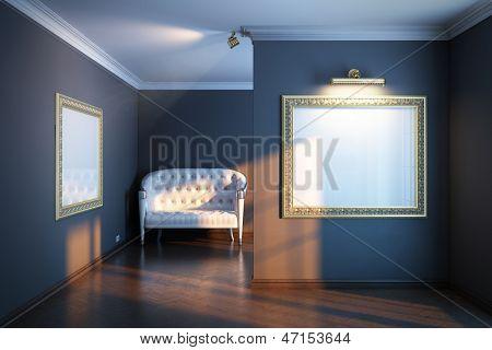 neue Interieur Galerie mit weißem Leder-sofa