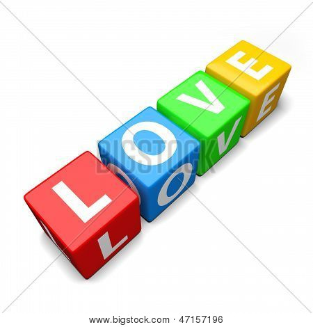 Love Word Made Of Colorful Toy Blocks