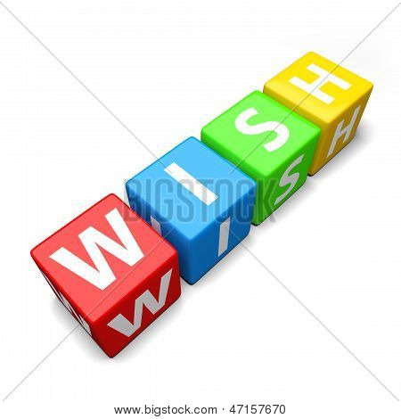 Wish Word Made Of Colorful Toy Blocks