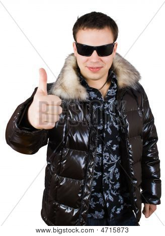 Man In Black Glasses Show Thumb Up Sing