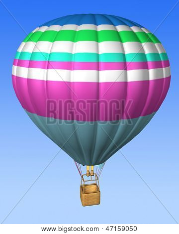 hot air balloon isolated on a sky background