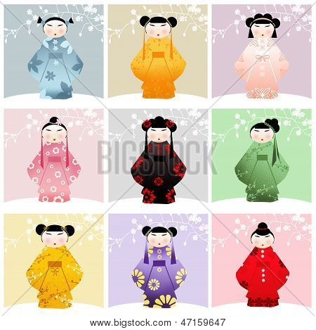 Kokeshi Dolls Collage