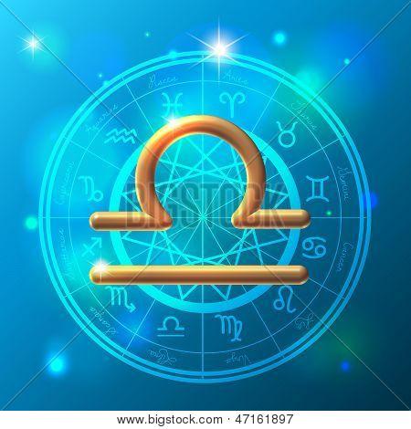 Zodiac Libra Golden Sign