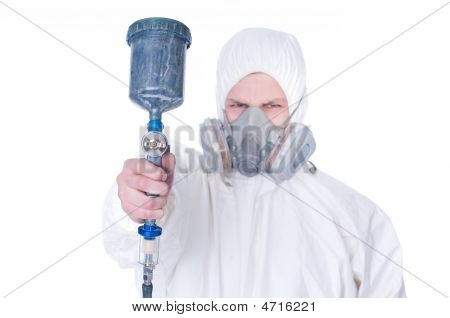 Worker With Airbrush Gun, Selective Focus
