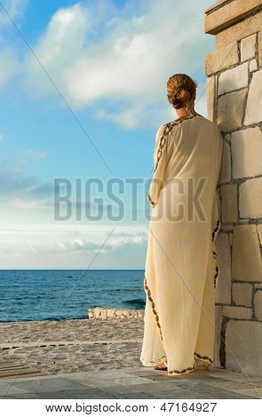 Greek Style Woman Looking For The Sea